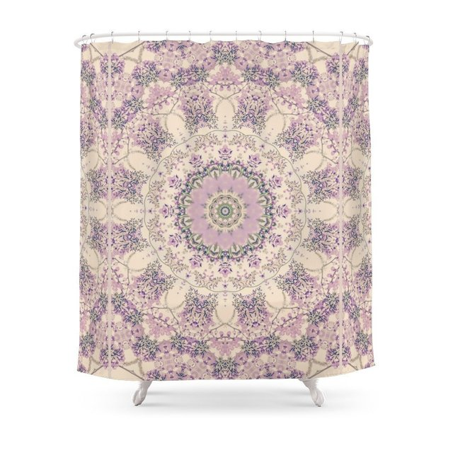 47 Wisteria Circle Vintage Cream And Lavender Purple Mandala Shower
