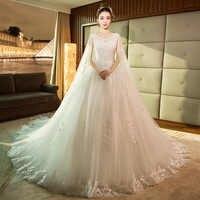 Robe De Mariee 2019 Lace Sequins Beaded Floor Length Luxury Wedding Dress Vestidos De Novias Long Tail Wedding Gown guna bainise