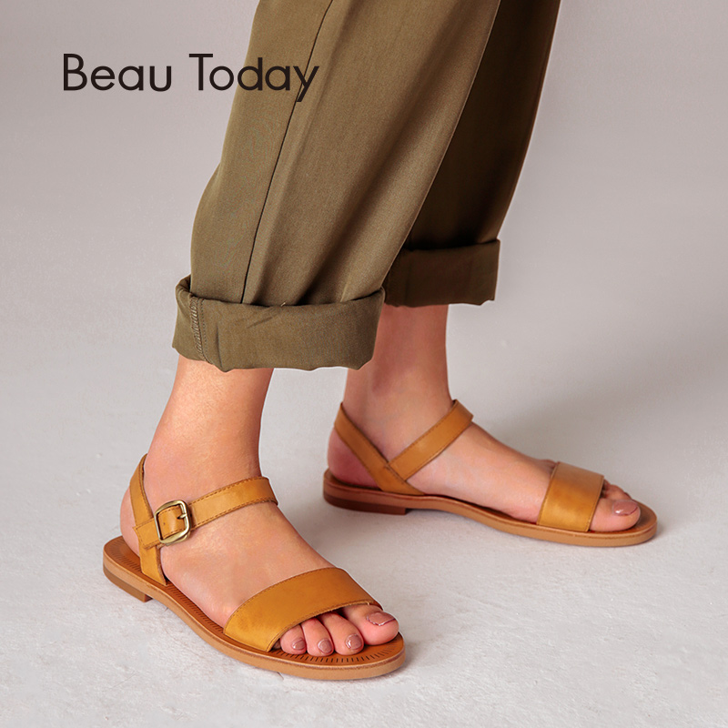 Flat Sandals Women BeauToday Brand Genuine Cow Leather Slingback Buckle Strap Good Quality Summer Shoes Handmade 32040