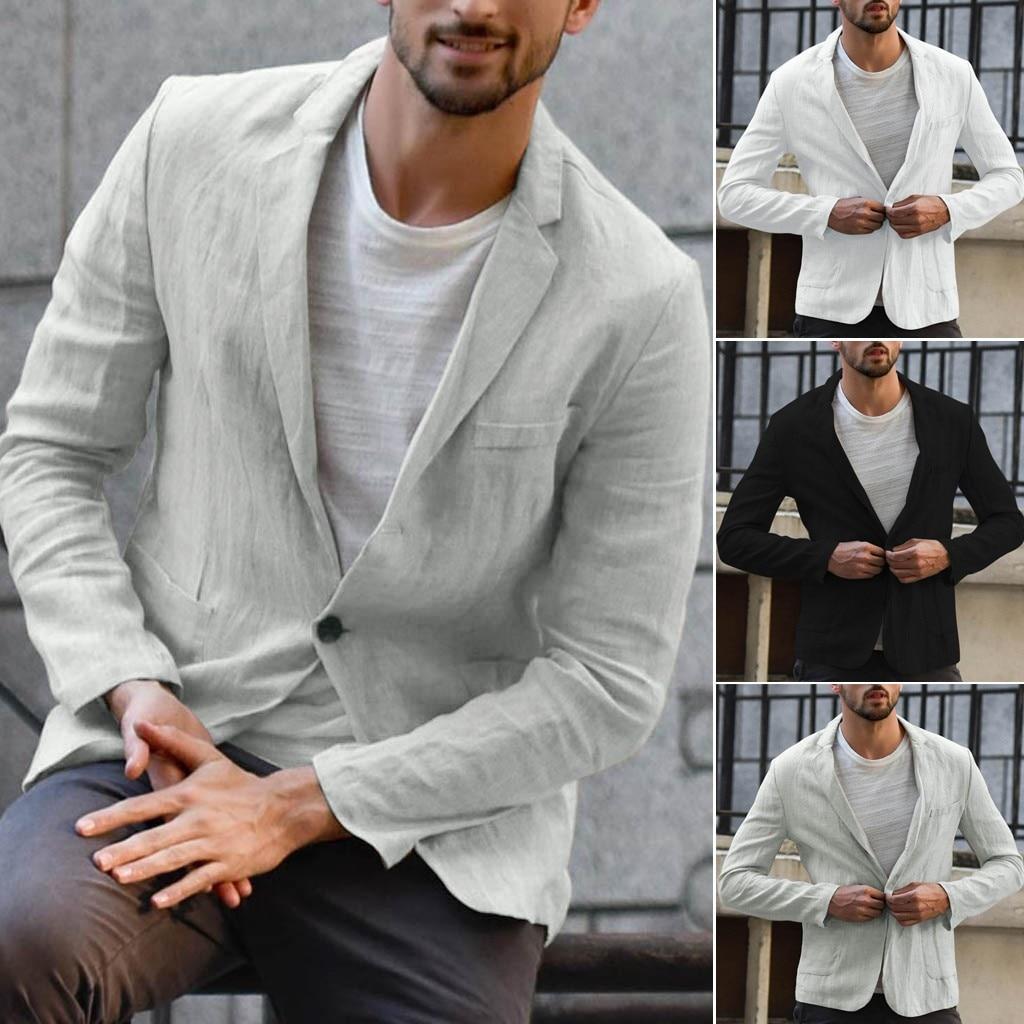 Hot Men Slim Fit Linen Blend Blazers Business Suits Solid Color Slim Dress Business Suit Long Sleeve Blazer Jacket Outwear