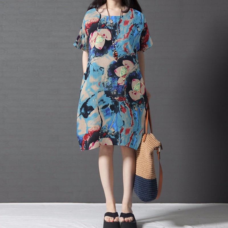 718be8b4fd2 2018 летние Для женщин короткий рукав Ретро Цветочный принт платье дамы  свободные Повседневное Boho роковой пляжные