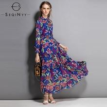 SEQINYY Retro Dress 2018 Early Autmn Fashion XXL Bohemian Draped Long Sleeve Printed Flowers Blue Chiffon Elegant Beach Dress xinmeishu blue xxl