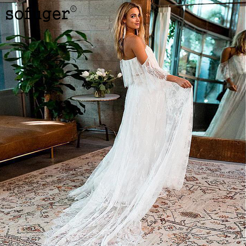 Beach Boho Wedding Dresses 2019 Backless A line Lace Applique Off the Shoulder Short Sleeves Bohemian