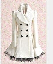 Princess Lolita Cute Sweet Gothic Nana PUNK Kera Long Lace White Jacket Coat women winter coat manteau femme