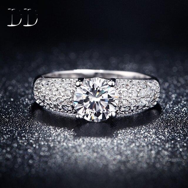 Белый позолоченный свадьба обручальное кольцо для женщин cz алмазов ювелирные изделия подарок для девушки bijoux четыре когтя Кольца bague femme DD024