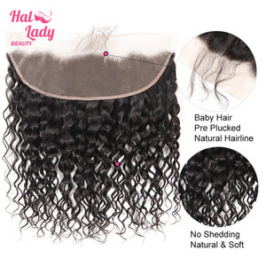 Image 5 - Halo Lady Beauty Natural Water Wave Lace Frontal With Baby Hair Brazilian Human Hair Weft 13*4 Frontal Closure Non remy