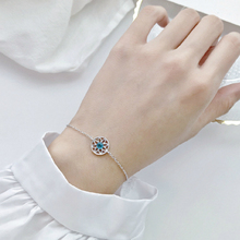 Silver Flower Charm Bracelet 925 AAA Blue Zircon Sunflower Lucky For Women Girls Luxury Fashion Jewelry
