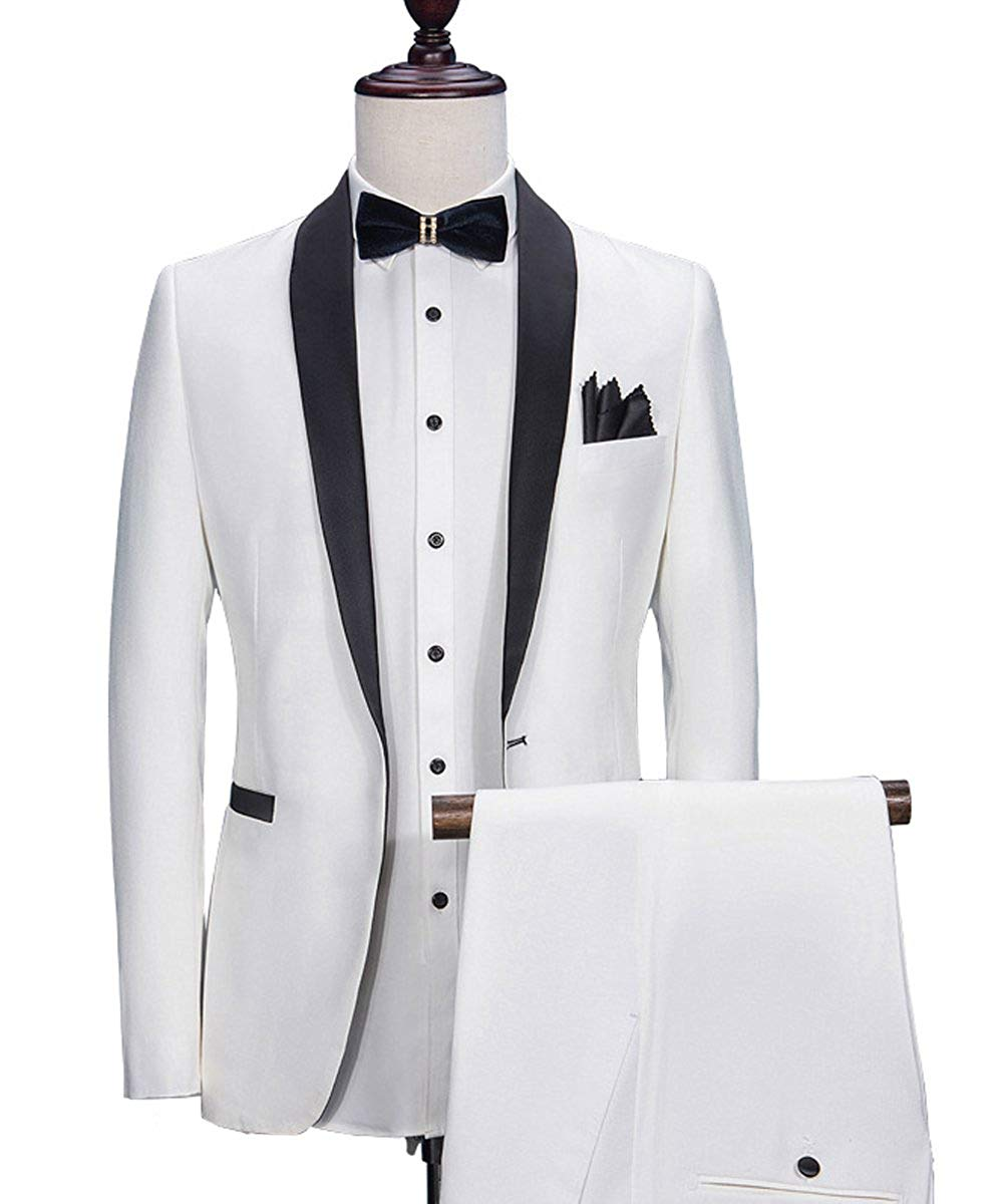Fashion Men's 3 Piece Suits Shawl Lapel Tuxedos Groomsmen Blazers +Vest+ Pant Set For Wedding