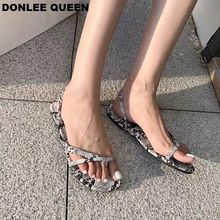DONLEE QUEEN 2019 New Summer Sandals Women Flat Casual Shoes Fashion Snakeskin Slides Narrow Band Ankle Wrap Beach