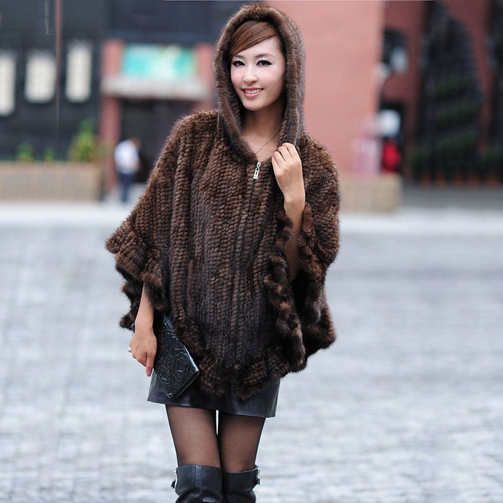 Fashionable Genuine Women Knitted real MINK Fur Poncho with Hoody zip Stole Cape shawls and wraps female autumn Winter black mink skullies beanies hats knitted hat women 5pcs lot 2299