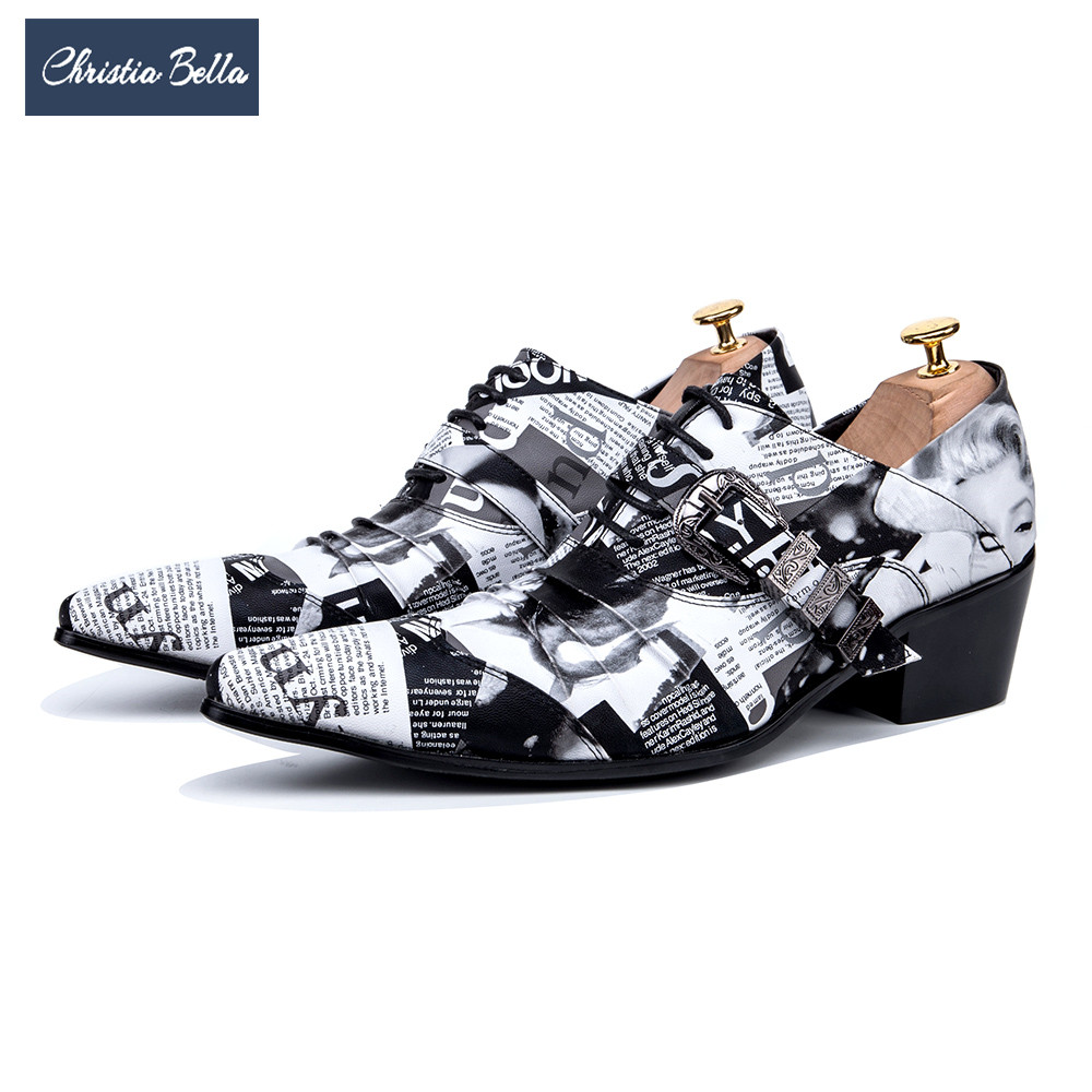 US $110 5 |Christia Bella Fashion Newspaper Print Men Oxford Shoes Buckle  Pointed Toe Men Brogue Shoes Wedding Dress Shoes Big Size-in Formal Shoes