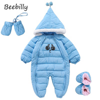 2017 Baby Rompers Winter Thick Warm Baby Girls Clothing Long Sleeve Hooded Jumpsuit Kids Newborn Outwear