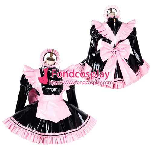 lockable Sissy maid PVC vinyl dress Uniform cosplay costume Tailor-made[G1797]