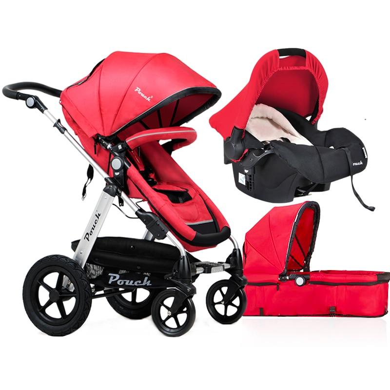 Brand baby stroller light bebe  Pouch brand  3 in 1  stroller High Landscape Baby carriage EU standards kid car send car seat