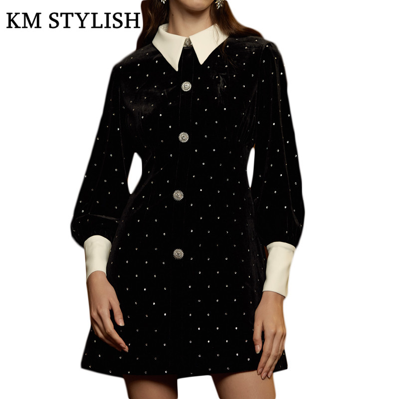 2019 Designer MiSi* Winter New Lapel Colorblock Long Sleeve Diamond Crystal Button Buckle High Waist Black Velvet Dress Female