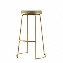 Скандинавский барный табурет, современный минималистичный барный табурет из кованого железа, парадный стол, высокий табурет, табурет для чайного магазина, штепсельное электрическое ветровое кресло