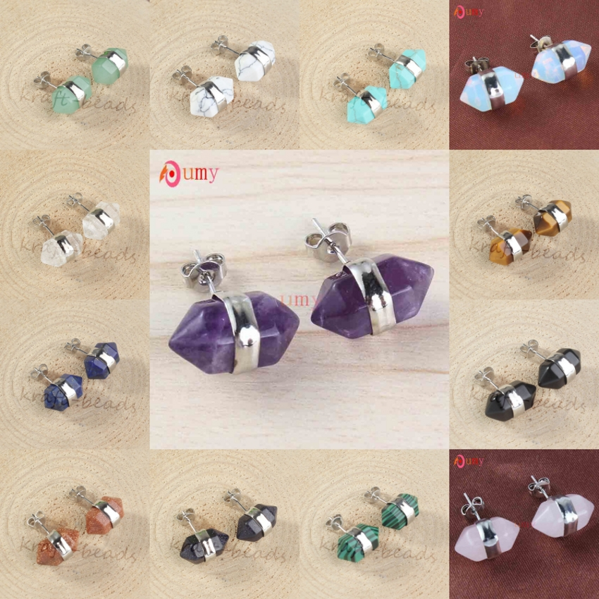 UMY Trendy Silver Plated Small Hexagon Column Amethysts Rose Pink Quartz Tiger Eye Stone Stud Earrings For Women Jewelry