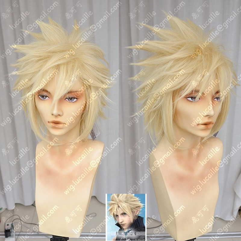 Final Fantasy VII 7 Cloud Strife Short Golden Blonde Cosplay Hair Wig + Wig Cap