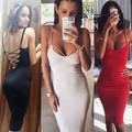 High Quality Women's Cross Bandage Dress Sexy Deep V-neck Backless Harness Nightclub Dress Slim Hip Package Dress