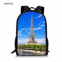 Cute Eiffel Tower Printing Schoolbag Teenagers Shoulder Backpack Softback  School Bags for GirlsBolsa Escolar Mochila Infantil