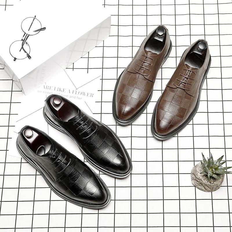 Semelles À De Épaisses Hommes Casual D'affaires Robe chocolat Noir Chaussures Tendance Pointu qYgwR4X