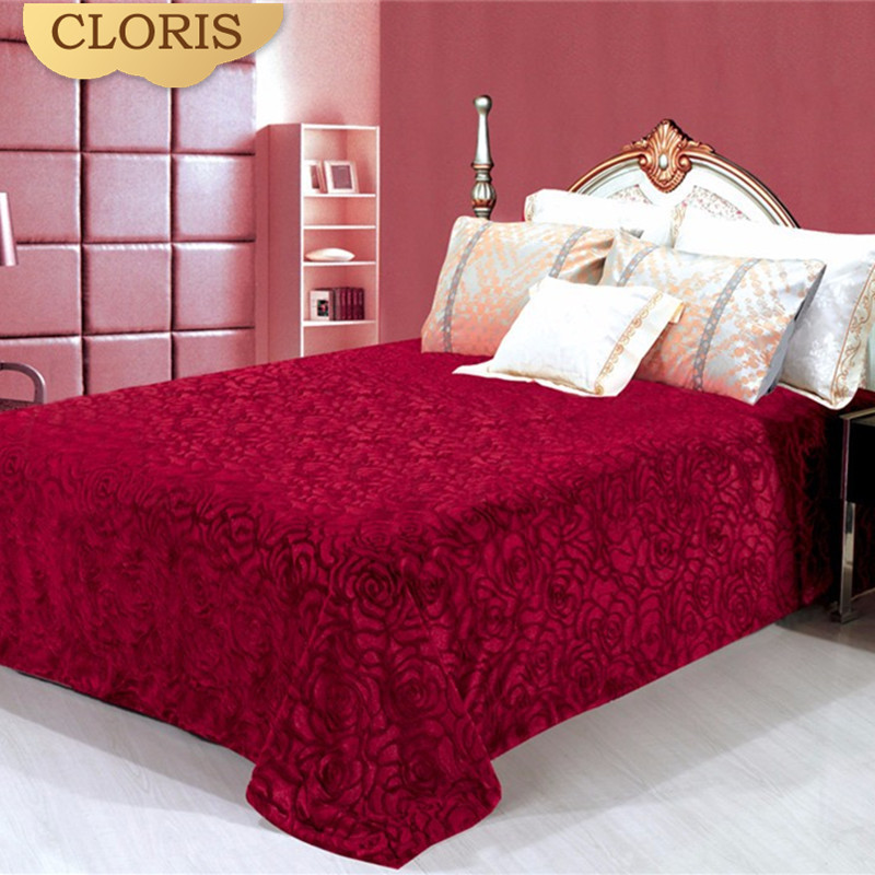 CLORIS Red Blanket Best 220x240cm Big Size Super Soft Throw Coral Blankets Travel Sofa Solid For Bed Warm Bedspread Best Gift
