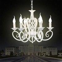 6 Pieces E14 white European wrought iron chandeliers/classical candle lustres suspension Metal chandeliers lamparas colgantes