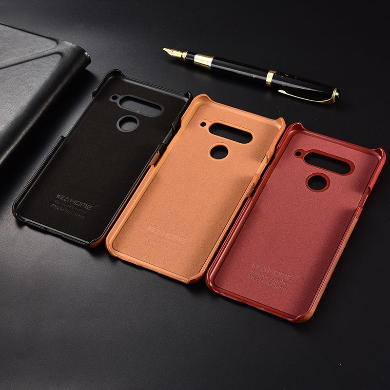 7671cf6cff28 US $11.99 20% OFF|Case for LG V40 KEZiHOME Two Colors Genuine Leather Hard  Back Cover For LG V40 ThinQ with Card Pocket-in Half-wrapped Cases from ...