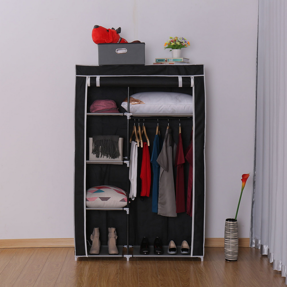 Non-woven wardrobe combination of the overall simple Korean wardrobe single wardrobe dust-proof small wardrobe dust ship from US duh non woven wardrobe combination wardrobe double folding wardrobe assembling home furnishing decoration coat hangers locker