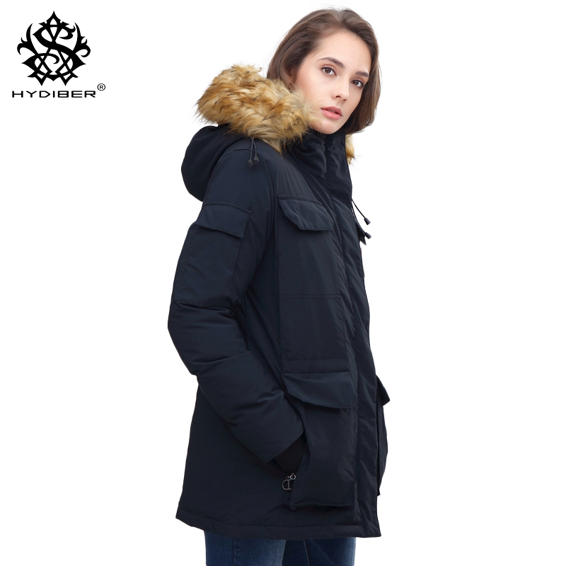 hydiber 2018 New Fur Hooded Women Winter Warm Parkas for Ladies Black Autumn Long Sleeve Black Female outwear Coats Plus Size tlzc hooded design women coats size s 2xl 2017 new fashion lady warm parkas fit winter black green gray color woman parkas
