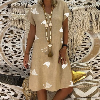 New Women Dresses Casual Summer 2019 Fashion Plus Siz Print Loose V-Neck Dress Short Sleeve T-shirt Dress Mini Dress 19March27