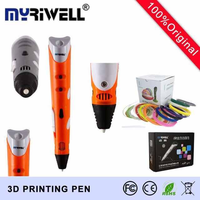 Nuevo Precio Factorey 3D Pluma MRIWELL Marca Los Niños de Dibujo Arte 3D impresión de Graffiti Pluma caneta Plumas 3d primera Generación Añadir 100 M ABS