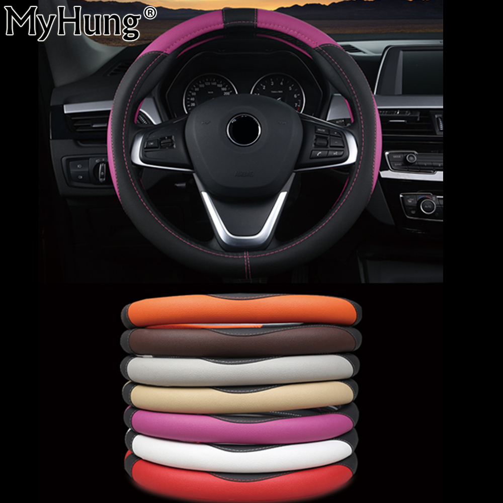 Hot Sell Leather Auto Car Steering Wheel Cover 38CM Anti-catch Holder Protector Steering Covers Car Accessories Car-Styling 1pc
