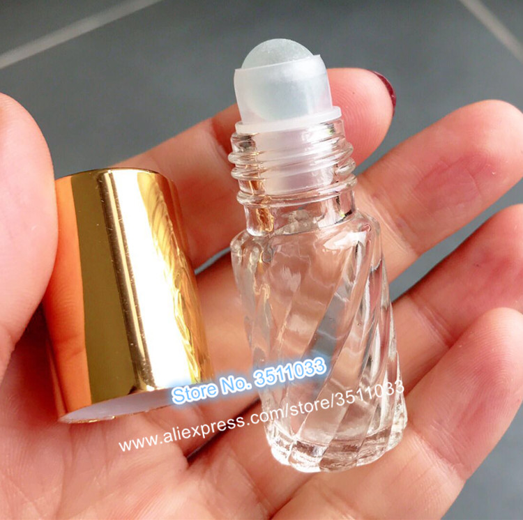 5ML Clear Glass Essential oil Roll On Bottle Vials Glass Roller Ball For Perfume Aromatherapy Twill