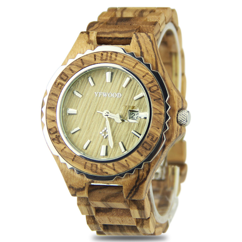 YFWOOD Quartz Watch Men Watches 2018 Top Brand Luxury Famous Male Clock Wood Wrist Watch Date Quartz-watch Relogio Masculino