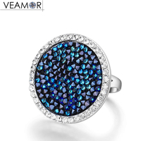 VEAMOR Pave Maxi Round Rings Luxury Romantic Cocktail Ring For Women Party Jewelry Crystals From Swarovski