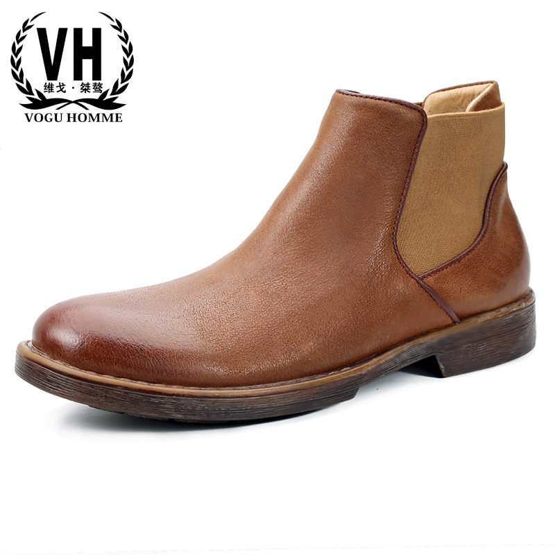 Men's shoes autumn winter British retro new Chelsea boots male Genuine leather Martin boots men all-match cowhide big size