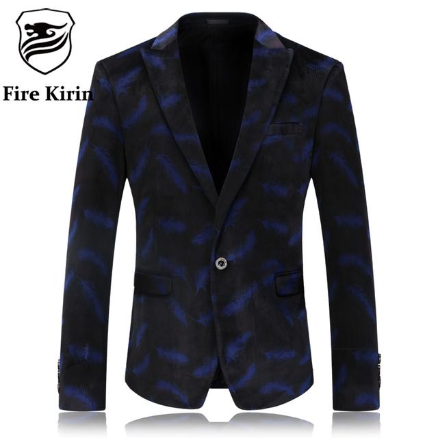 Kirin fuego Hombres Blazer Slim Fit Hombres Blazer Diseños de Terciopelo Azul Desgaste de la etapa Del Partido Marca Vestido 4XL Ropa Casual Traje Chaqueta Q59
