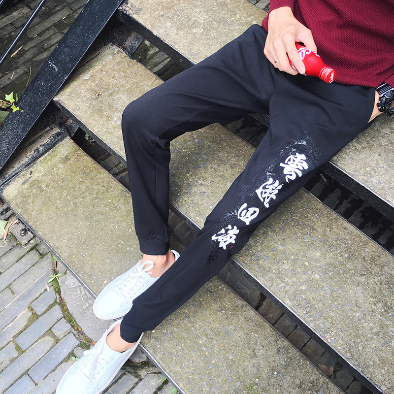 2017 Time-limited Mid Military In The Autumn Of New Japanese Retro Men Chinese Characters Printing Necking Casual Pants Sweat