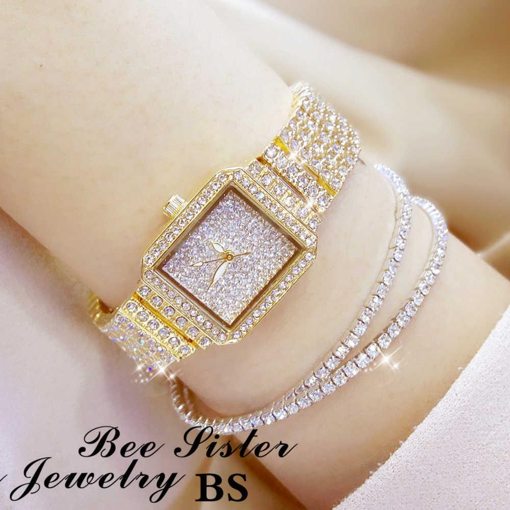 2019 Новая женская обувь с украшением в виде кристаллов часы Для женщин Стразы Часы леди платье часы Montre Femme Нержавеющаясталь браслет для наручных часов