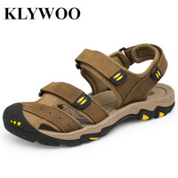 KLYWOO Plus Size 38 47 Men Beach Sandals Fashion Summer Men Causal Shoes Breathable Genuine Leather
