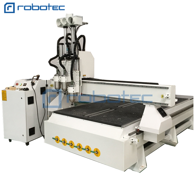 Hot 1325 Wood CNC Machine With Vacuum Table/4x8 FT Three Spindle Auto Change CNC Router 1325 For Wood Door Cabinet Furniture