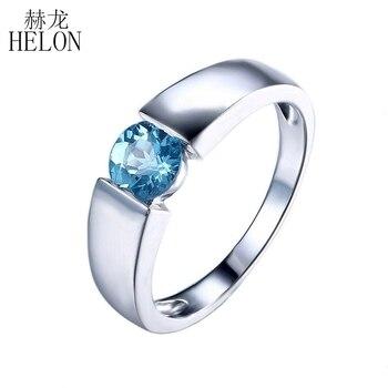 be19c73e25bc Helon sólido 10 K oro blanco tensión ajuste 5.5 ronda cut 1.1ct Topacio  Azul anillo de compromiso Joyería fina anillo de piedras preciosas