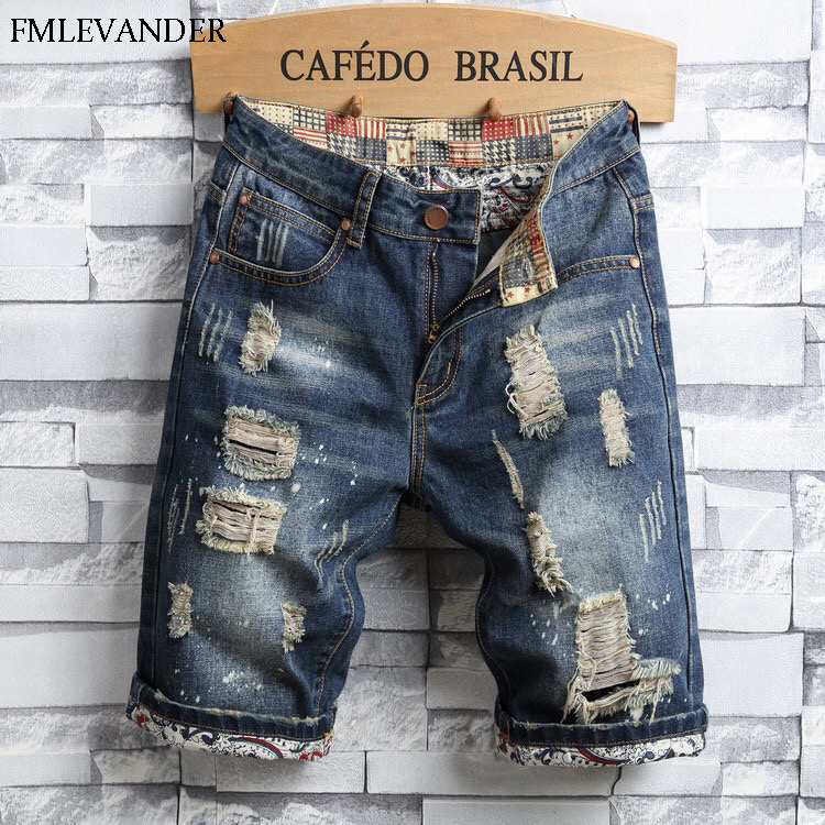 High Quality Ripped Denim Summer Short Jean Straight Pants Trousers Homme Men Jeans