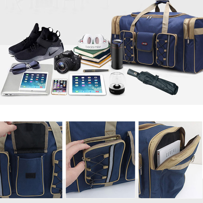 Image 4 - Thick Canvas Casual Duffle Bag Waterproof Mens Travel Bags Long Strap Anti scratch Multi pocket Large Capacity Handbags L468-in Travel Bags from Luggage & Bags