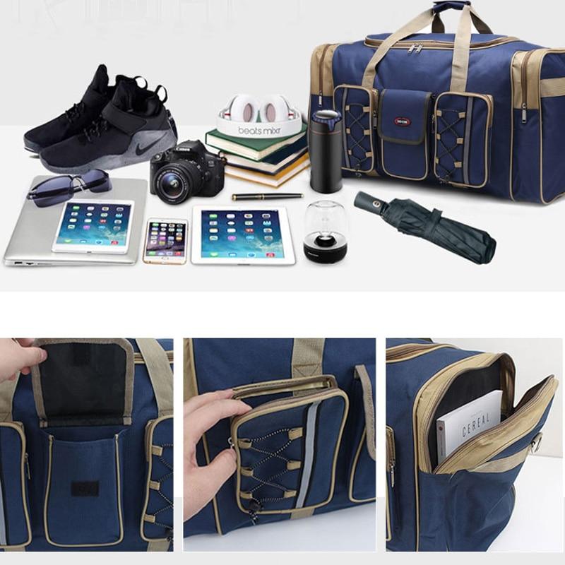 Tjock Canvas Causal Duffle Bag Vattentät Mens Travel Väskor Lång - Väskor för bagage och resor - Foto 4