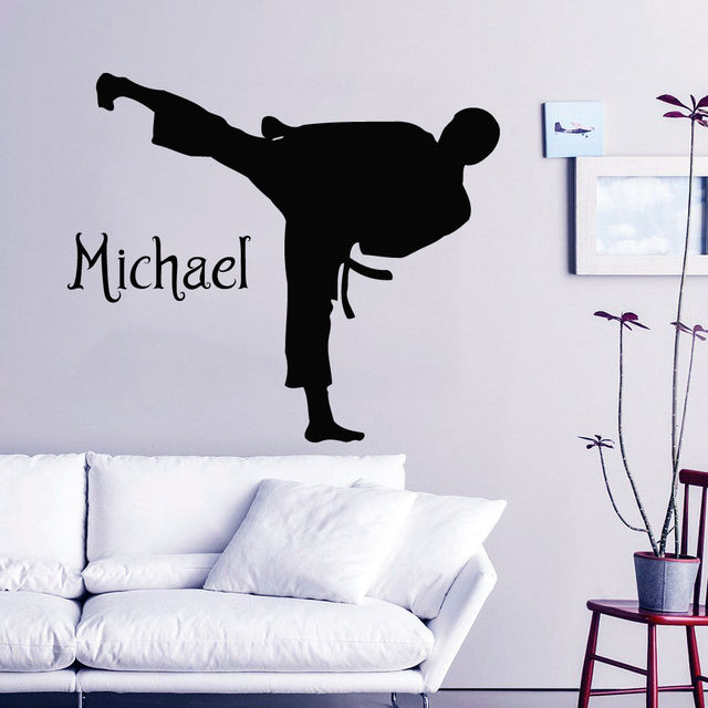 Karate Wall Decal Boy Personalized Name Vinyl Stickers Martial Arts Decor