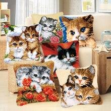 DIY вышитая грубая шерстяная подушка ручной вязки вышивка крестиком вышивка ковровая ткань животное кошка незаконченная подушка