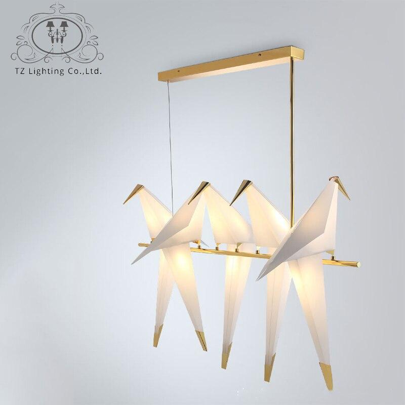 TZ современный оригами кран Птица подвесной светильник Nordic Стиль Творческий Дизайн личность лампа Висит отеле зал Салон Спальня бар