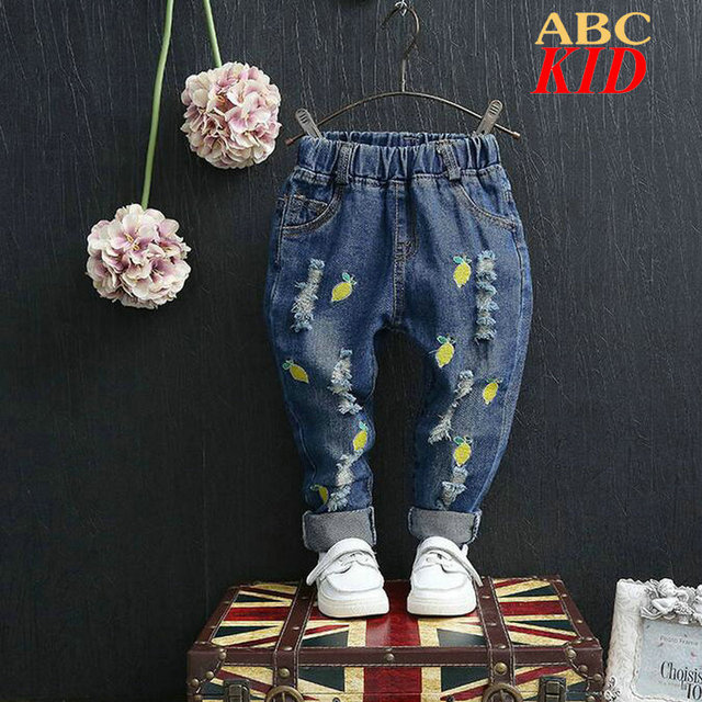 Lemon embroidery kids jeans Cherry jeans infantil cowboys pants boys ripped jeans girl pantalones for new year KD141